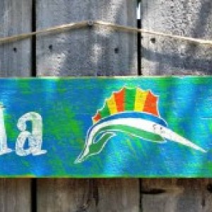 Handcrafted Distressed Reclaimed Wooden Pensacola Beach Sailfish Sign