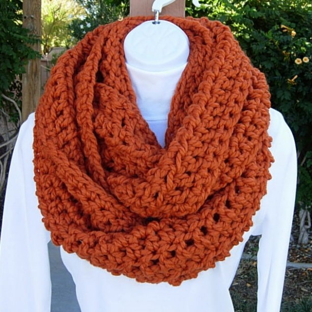 Large INFINITY SCARF Cowl Loop Pumpkin Solid Orange, Color Options, Bulky Chunky Wide Soft Wool Blend Crochet Knit Winter Circle Big Wrap, Ready to Ship in 3 Days