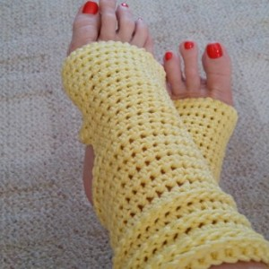 Yoga Socks - Toeless BalletSocks, Pilates, Dance Warmers, Crocheted Yellow Socks, For Her