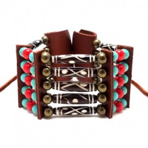 Handmade Traditional 5 Row Carved Buffalo Bone Hairpipe Beads Tribal Bracelet