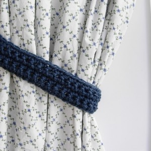 Blue Curtain Tiebacks Tie Backs Set, One Pair of Solid Medium Denim Blue Drapery Drapes Holders, Crochet Knit, Basic Simple Bedroom Decor, Ready to Ship in 2 Days