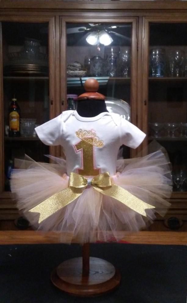 Beautiful Pink & Gold 1st Birthday Tutu Set, Girls Birthday, 1st Birthday Outfit,  Cake Smash, Photography Prop, Dance, Baby Girl Birthday