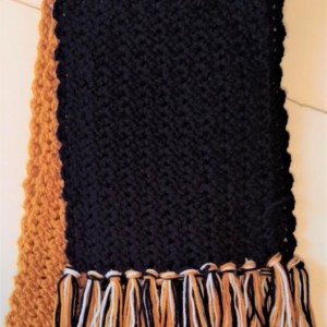 Blue, White, Gold Scarf, Fringe, Women/Men