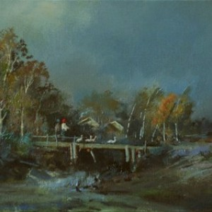 bridge, by Bogdan Goloyad oil on canvas 16x34