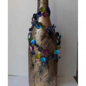 Upcycled Gold Wine Bottle/Bottle/Upcycled Wine/Upcycled Wine Bottle/Wine Bottle/Centerpiece/Wine/Wine Decor/Mantle/Vase