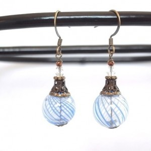 Earrings Aqua Color Hollow Glass Beads Handmade Stripe Hand Blown Drop Dangle Blue Summer Resort Sea Beach Jewelry Accessory Fish Hook