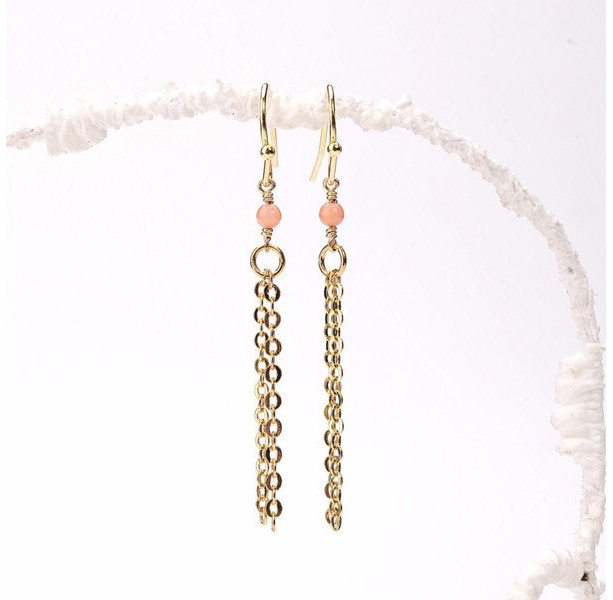 Pink Coral Tassel Earrings, Gold Filled Tassel and Tiny Pink Coral Beads Dangling from Gold Filled Earwires