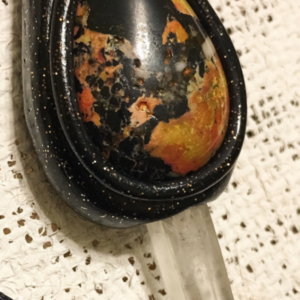 OOAK Picasso Jasper and Polymer Clay Pendant