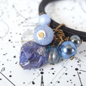 Hair Elastic Navy Color Plastic Beads Looks Like Meteorite Crystal Handmade Blue Galaxy Space Cosmo Antique Style