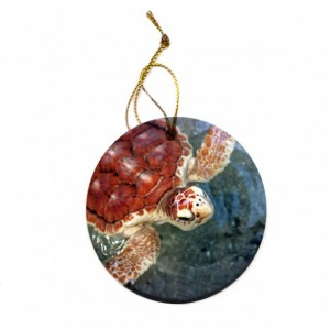 Loggerhead Turtle Porcelain Christmas Tree Ornament
