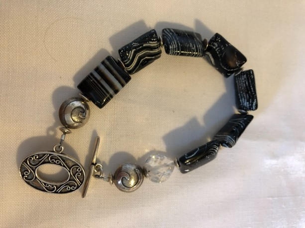 Bracelet with zebra agate beads, cz heart bead and sterling silver toggle, beads and findings