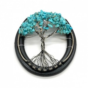 Horseshoe Tree of Life made with Wagnerite Chips and a Heart Charm