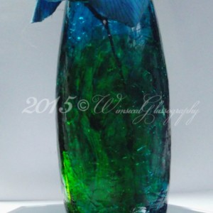 Duo Color Blue Green Crackle Leaded Crystal Glass Hand Stained Vase
