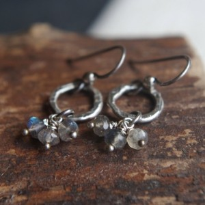 Labradorite earrings - fine silver earrings - Hand forged metalwork dangles - Organic circles, semiprecious stones - AAA faceted Labradorite