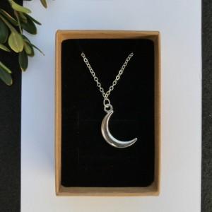 Silver Moon Necklace - Moon Necklace, Star Necklace, Silver Necklace
