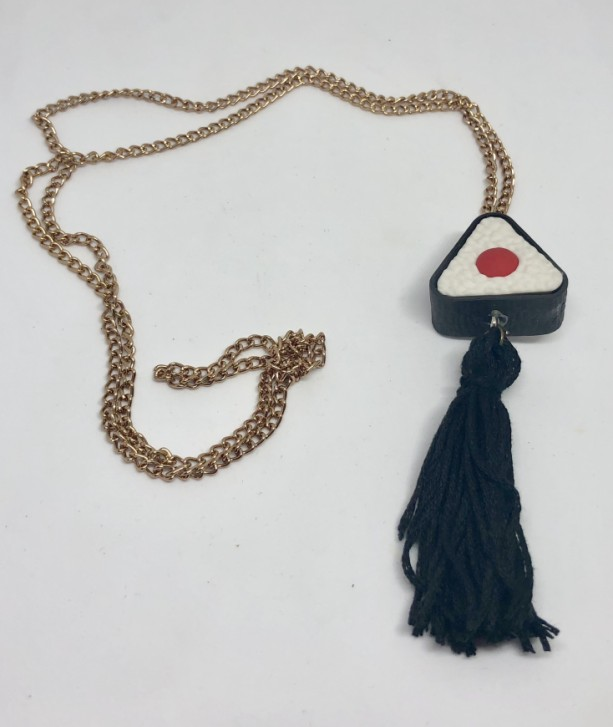 Sushi Roll Sashimi Upcycled Eraser Toy with Tassel Necklace - Food Emoji Jewelry - Tassel Necklace - Upcycled Toy Necklace -  Makizushi Gift