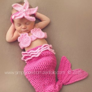 Pink Newborn Baby Mermaid Tail Photo Prop Costume