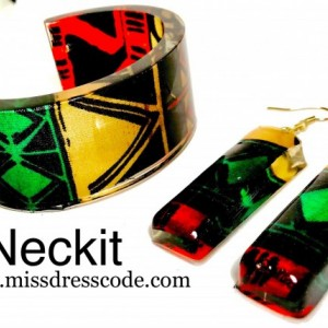 African Kente Print Fabric in Resin Cuff Bangle and Earrings