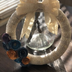 Wrapped Book Page Wreath with Flowers