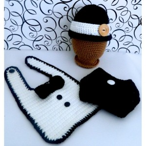 Tuxedo & Bowler Hat, Bib, and Diaper Cover