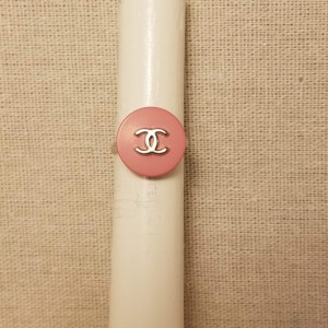 Authentic Iconic Designer Button Ring Pink, Insignia Ring Classic Designer Up-Cycled Button Jewelry