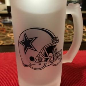 Custom Made Dallas Cowboys Frosted Beer Stein 16 oz Glass Mug