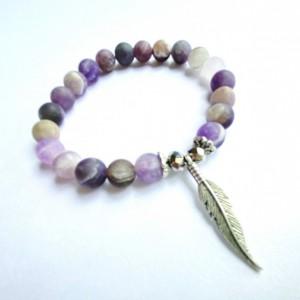 Amethyst Feather Bracelet