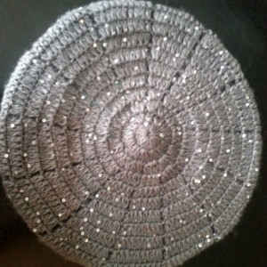 Stylish, Beautiful, Handmade Sequined Acrylic/Wool/Mohair Crochet Hat in 5 Colors: Black, Brown, White, Green/Peridot, Grey