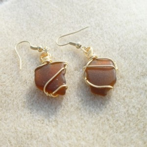 Warm Brown Sea Glass Earrings