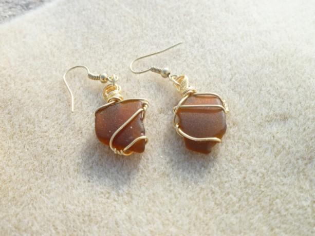 Warm Brown Sea Glass Earrings