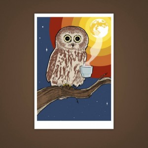 Coffee Owl, Bird 5x7 Giclee Illustration Print, Moon, Rainbow, Wall Art, Home Decor, Drawing, Caffeine Lovers, Velvet Matte Finish