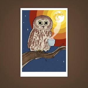 Coffee Owl 5x7 Giclee Illustration Print