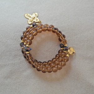 Rosary Bracelet of Smokey Topaz Glass and Lampwork Beads