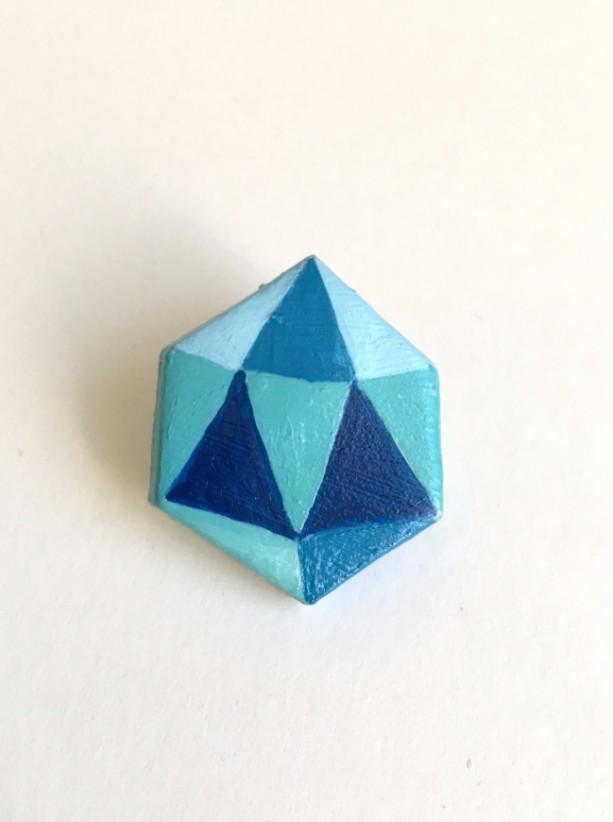 Handmade Brooch Gem Crystal Clay Pin Blue Artisan jewelry Accessory