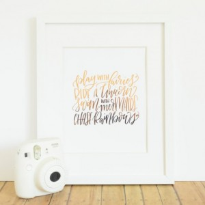 Hand-Lettered Unicorn Mermaid Quote Print / Real Rose Gold Foil Art / Birthday Gift For Her / Baby or Little Girl's Room Nursery Gift