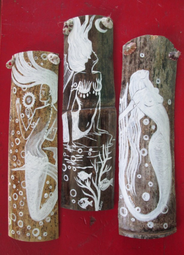 Set of 3 Fantasy Mermaids- ORIGINAL ART- Hand Painted  on drift wood- beach decor- Mermaid decor