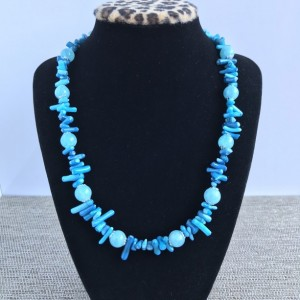 Blue Coral Statement Necklace, Blue Aquamarine Necklace, Blue Coral Statement Necklace, Coral Statement, Aquamarine Necklace, Natural Coral