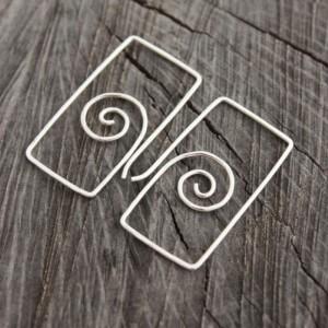 Sterling Silver Spiral in Rectangle Earrings