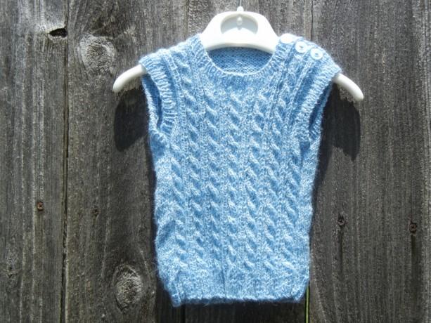Knit Baby Vest, Alpaca Blue Vest, Knitted Vest, Baby Boy Vest, Size Preemie amd Newborn 0-3 months, Alpaca Hand Knitted Vest,  Ready to Ship