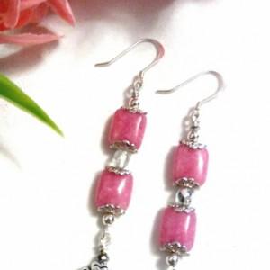 Pink Square Jade Sterling Silver Earrings, Earring Accessories, Beaded Earrings, Handmade Jewelry, Long Earrings, Real Jade Earrings Sale