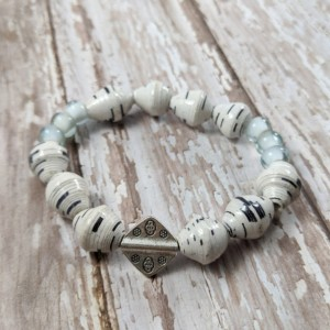 The Alexis | handmade seafoam stretch bracelet stack, coral sponge, recycled paper, African sea glass, krobo beads, Gifts for Her