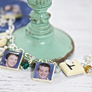 Personalized Photo Scrabble Tile Charm Beaded Bracelet