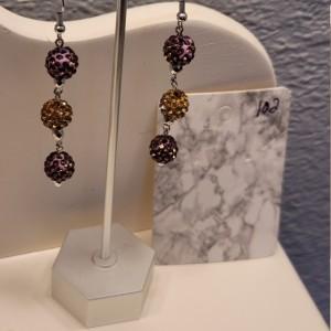 Purple and yellow rhinestone earrings