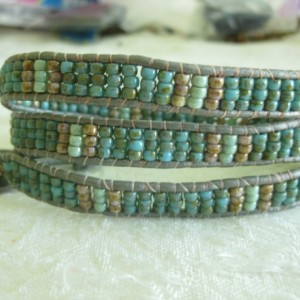 Leather wrapped bracelet 3x wrap Designer look without designer price tag LW23