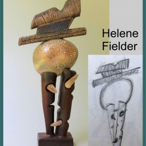 First Born Abstract Sculpture of Egg on Two Stilts Helene Fielder