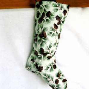 Christmas Pine Cones Stocking - Handmade Traditional Christmas Stocking, Lined Xmas Stocking, Unique Holiday Sock