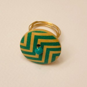 Chevron Button Ring