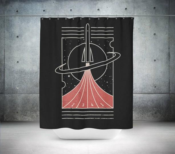 Retro Sputnik Shower Curtain