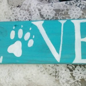 Paw Print Love sign - wooden home decor - wall hanging - teal and white decor - wall plaque -pet friendly -animal love- free shipping in USA