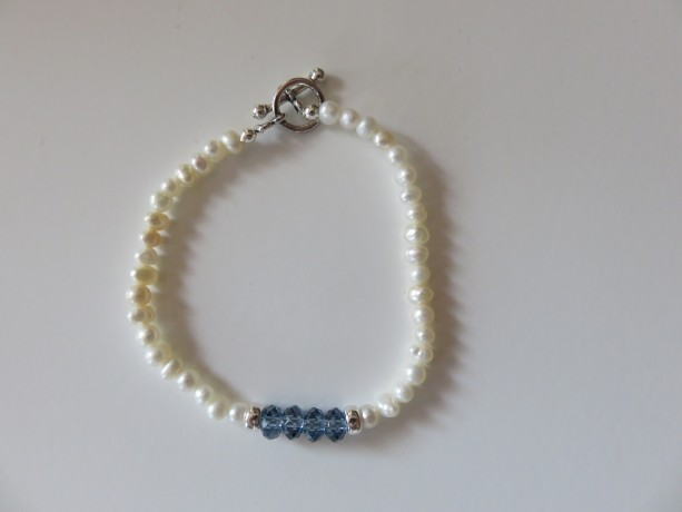 Mini Pearls & Aqua Bracelet